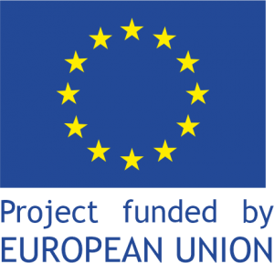 Flag of European Union with caption Project funded by European Union