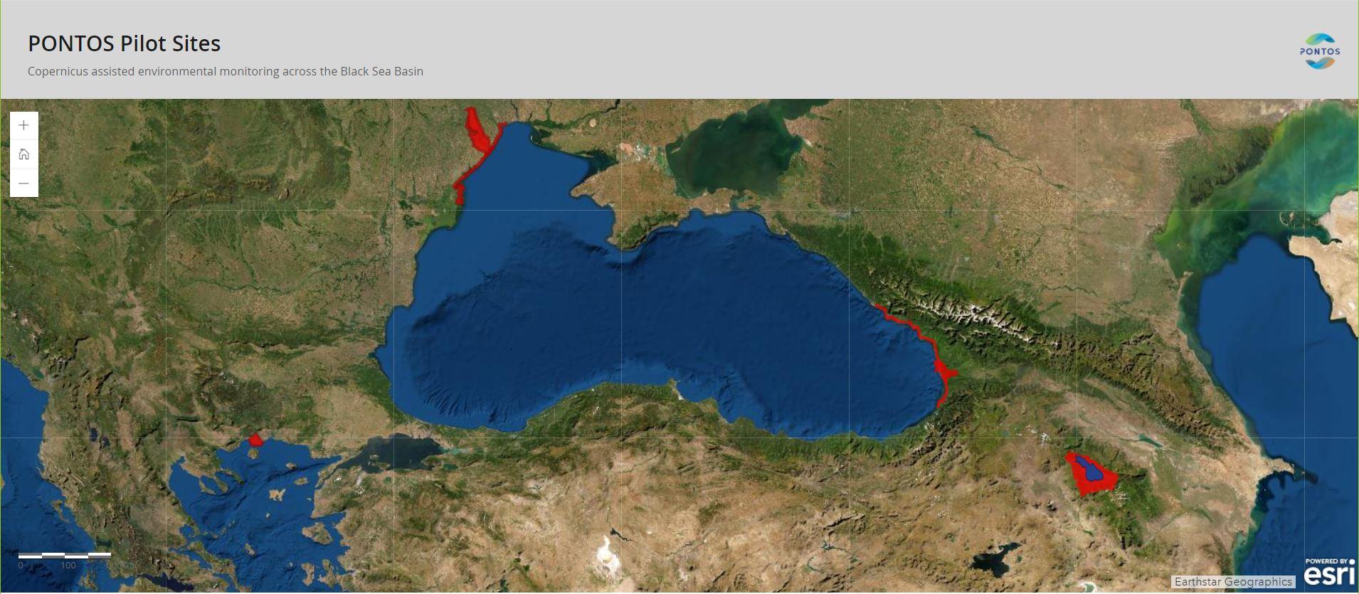 Map of Pontos Pilot Sites(Coastal Line of Ukraine in Black Sea from Odesa City to Danube river delta, Dniester river delta, Coastal line of Georgia in Black Sea, Kolkheti Lowlands, Sevan Lake)